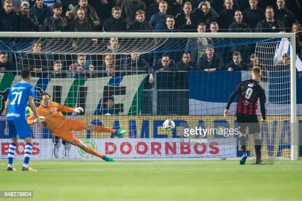 Younes Namli of PEC Zwolle goalkeeper Diederik Boer of PEC Zwolle Mike van Duinen of sbv Excelsior during the Dutch Eredivisie match between PEC...