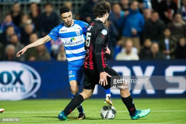 Younes Namli of PEC Zwolle Jurgen Mattheij of sbv Excelsior during the Dutch Eredivisie match between PEC Zwolle and sbv Excelsior Rotterdam at the...