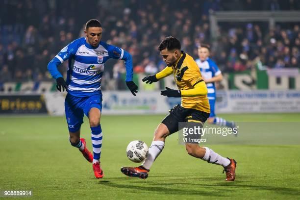 Younes Namli of PEC Zwolle Manu Garcia of NAC Breda during the Dutch Eredivisie match between PEC Zwolle and NAC Breda at the MAC3Park stadium on...