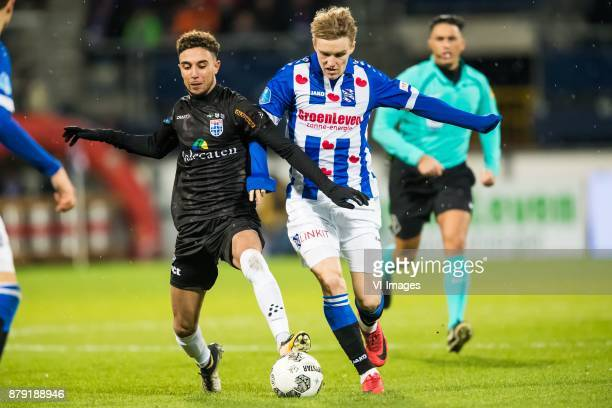 Younes Namli of PEC Zwolle Martin Odegaard of sc Heerenveen during the Dutch Eredivisie match between sc Heerenveen and PEC Zwolle at Abe Lenstra...