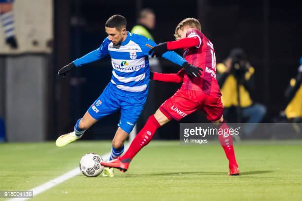 Younes Namli of PEC Zwolle Martin Odegaard of sc Heerenveen during the Dutch Eredivisie match between PEC Zwolle and sc Heerenveen at the MAC3Park...