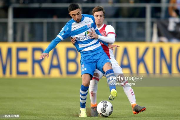 Younes Namli of PEC Zwolle Nicolas Tagliafico of Ajax during the Dutch Eredivisie match between PEC Zwolle v Ajax at the MAC3PARK Stadium on February...