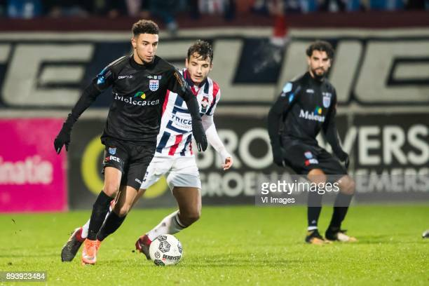 Younes Namli of PEC Zwolle Pedro Chirivella of Willem II during the Dutch Eredivisie match between Willem II Tilburg and PEC Zwolle at Koning Willem...
