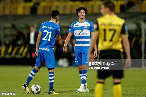 Younes Namli of PEC Zwolle Philippe Sandler of PEC Zwolle during the Dutch Eredivisie match between Roda JC v PEC Zwolle at the Parkstad Limburg...