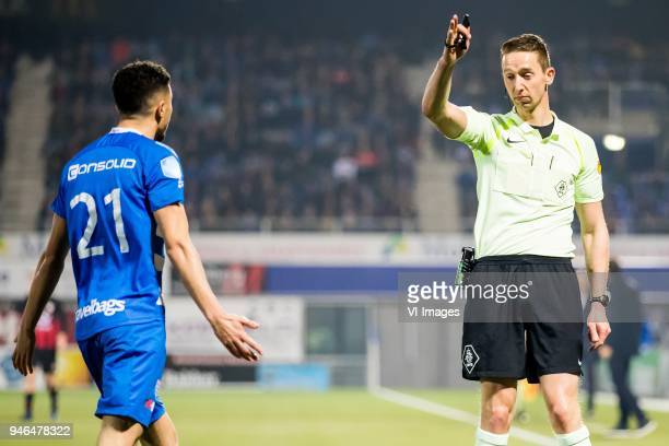 Younes Namli of PEC Zwolle referee Christiaan Bax during the Dutch Eredivisie match between PEC Zwolle and sbv Excelsior Rotterdam at the MAC3Park...