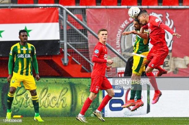 Youness Mokhtar of ADO Den Haag, Tyronne Ebuehi of FC Twente during the Dutch Eredivisie match between FC Twente and ADO Den Haag at De Grolsch Veste...