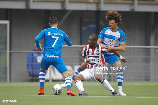 Youness Mokhtar of PEC Zwolle Eyong Enoh of Willem II Philippe Sandler of PEC Zwolle during the Dutch Eredivisie match between PEC Zwolle v Willem II...