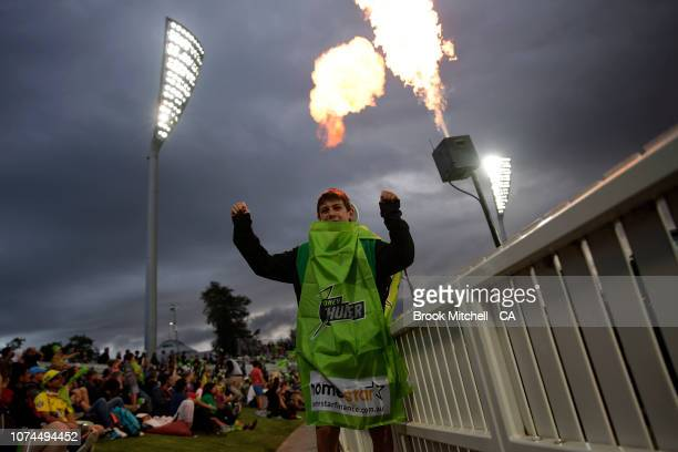 A younf fan shows his support during the Sydney Thunder v Melbourne Stars Big Bash League Match at Manuka Oval on December 21 2018 in Canberra...