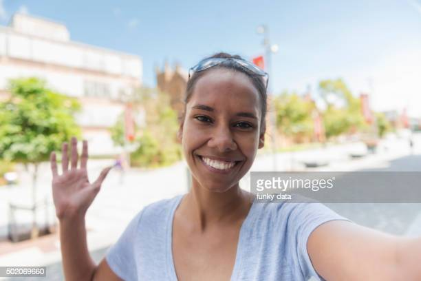 Young Aboriginal woman taking a selfie