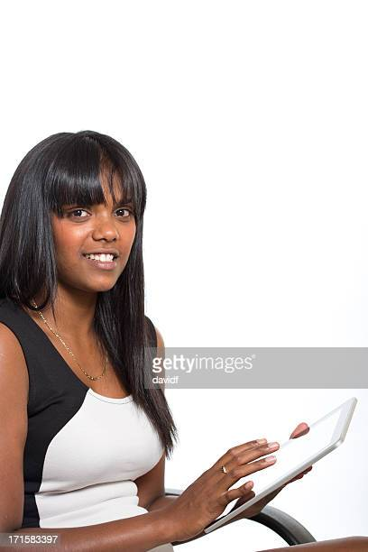 Young Aboriginal Woman Using a Computer