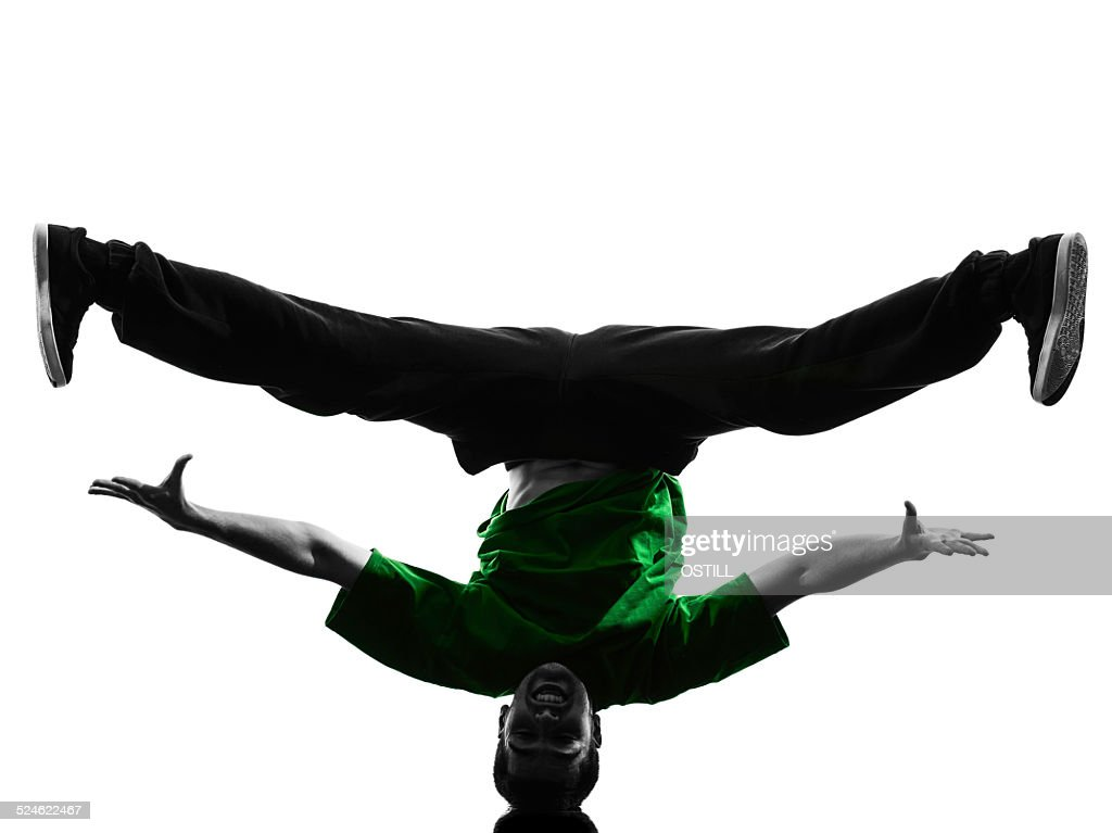 a0f23f5f2 Young Acrobatic Break Dancer Breakdancing Man Silhouette Stock Photo ...