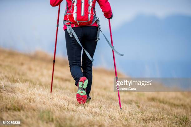 Young Active Woman Ascending The Plateau