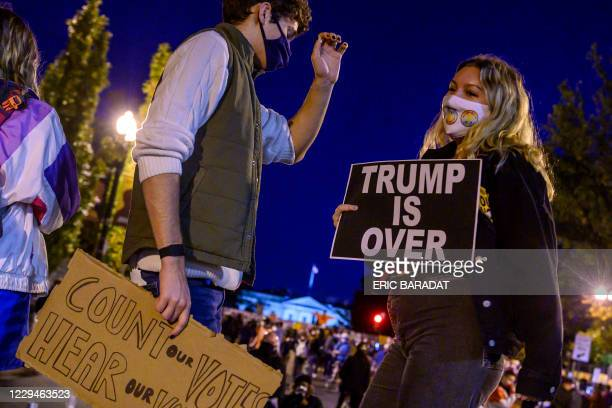 Young activists and Democratic party candidate supporters gather and dance on Black Lives Matter Plaza just outside of the White House on November 4,...