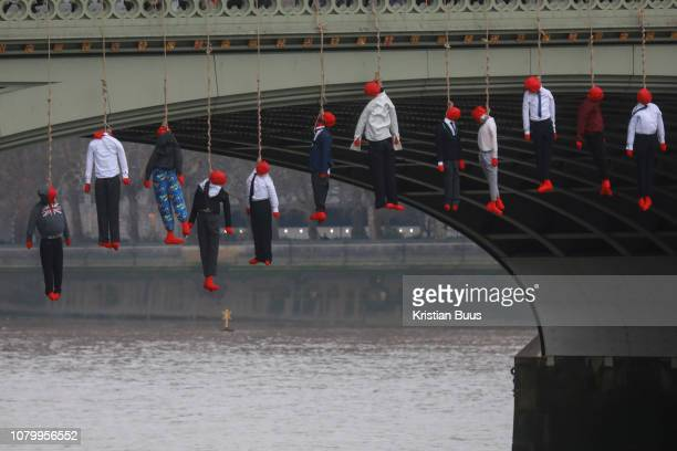 25 young activists from Crazy Talk took to Westminster Bridge and hanged twenty human figures from the bridge to raise awareness to the increased...