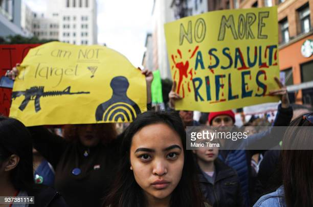 Young activists stand before marching during the March for Our Lives rally on March 24 2018 in Los Angeles California More than 800 March for Our...