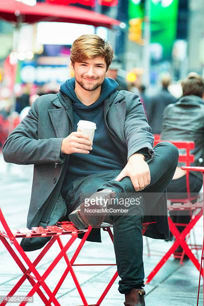 young actor on broadway portrait with coffee - actor stock pictures, royalty-free photos & images