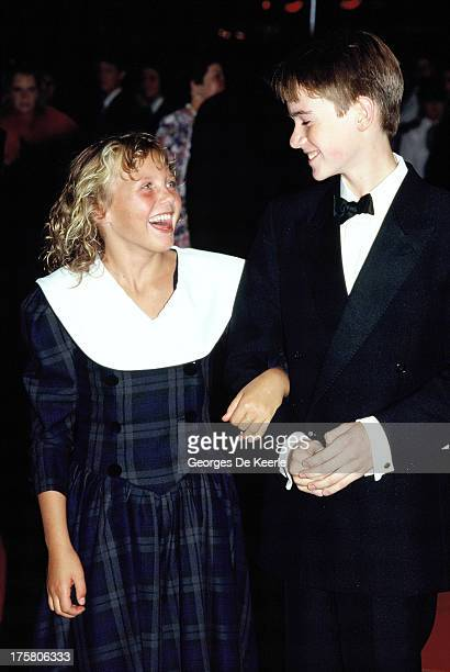 Young actors Helen Pearce and Max Rennie attend the premiere of 'When The Whales Came' on September 7, 1989 in London, England.