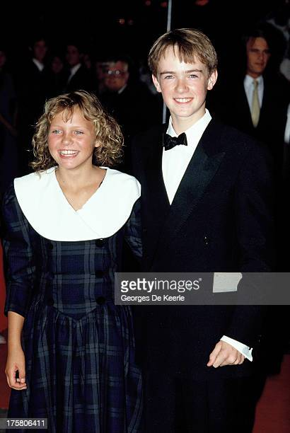 Young actors Helen Pearce and Max Rennie attend the premiere of 'When the Whales Came' in September 7, 1989 in London, England.