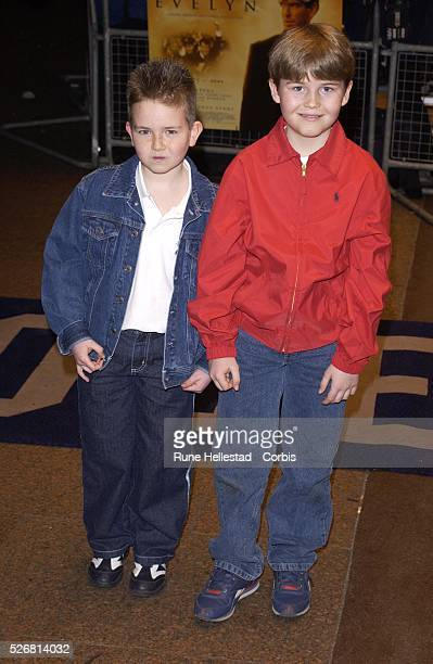 Young actors Niall Beagan and Hugh McDonagh attend the London premiere of Evelyn at the Odeon West End They play the roles of Dermot and Maurice...