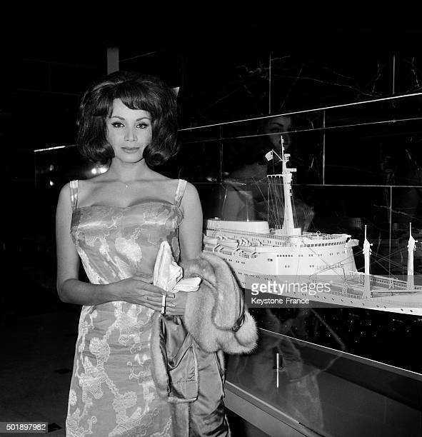 Young Actress Maria Grazia Buccella With Model Of French Liner France Is Going To Star In The French Movie 'Amour Humour Et France' Directed By...