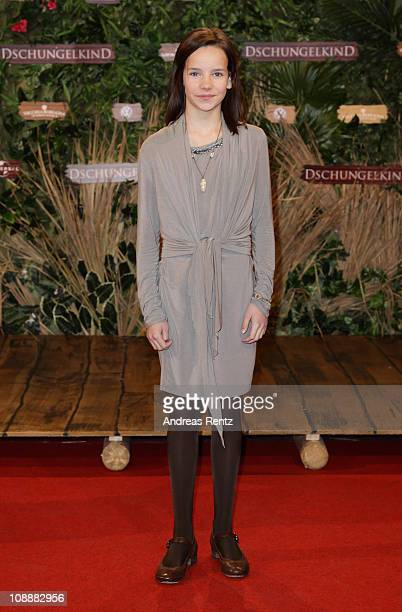 Young actress Stella Kunkat attends the 'Dschungelkind' Premiere at CineStar on February 7 2011 in Berlin Germany