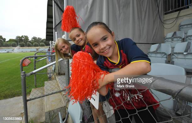 Young Adelaide fans during the round 11 W-League match between Adelaide United and Sydney FC at Marden Sports Complex, on March 06 in Adelaide,...