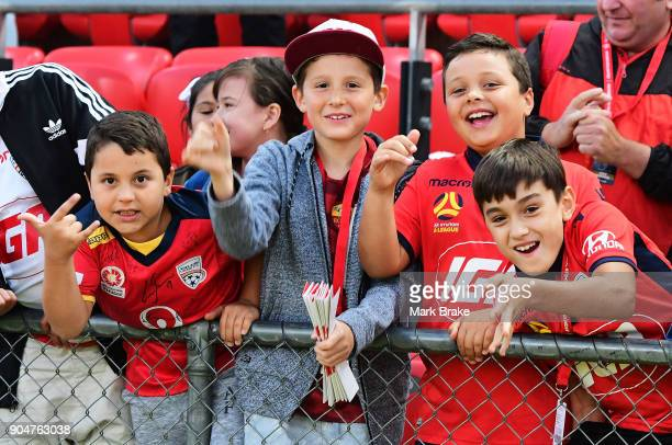 Young Adelaide United fans during the round 16 ALeague match between Adelaide United and Sydney FC at Coopers Stadium on January 14 2018 in Adelaide...