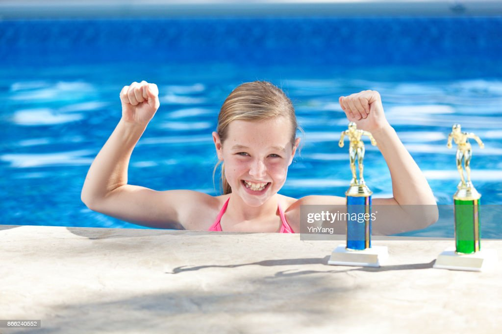 b79b9eafd Young Adolescent Girl Champion Swimmer in Swimming Pool with Medals : Stock  Photo