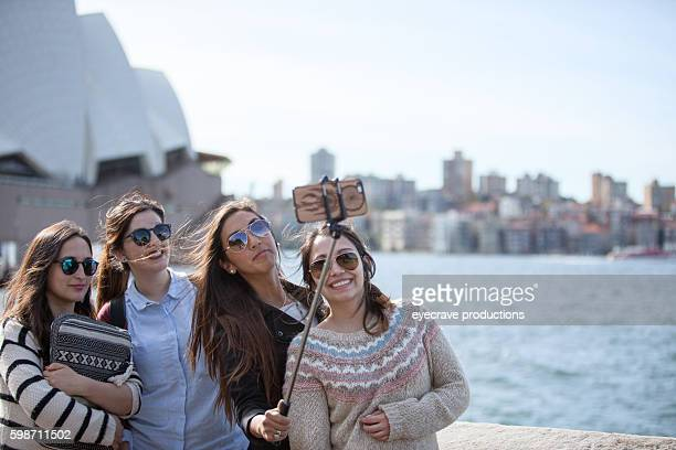 Young Adult Asian Females Sydney Opera House Harbor Selfy