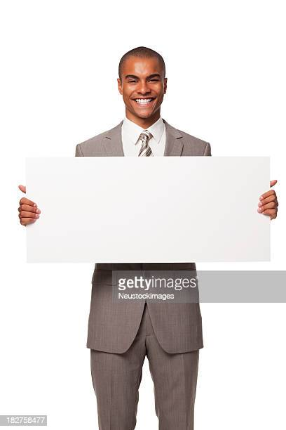 Young Adult Businessman With Blank Sign. Isolated.
