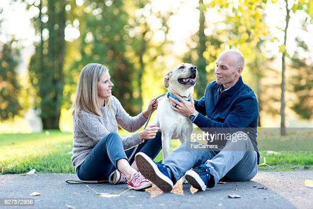 Young adult couple petting their white labrador puppy