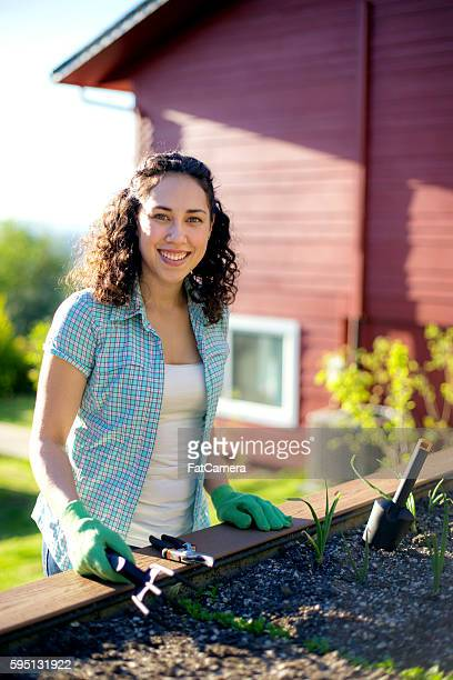 young adult female gardening outdoors in the sunshine - fatcamera stock pictures, royalty-free photos & images