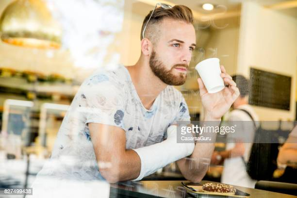 Young Adult Handsome Man in Bar