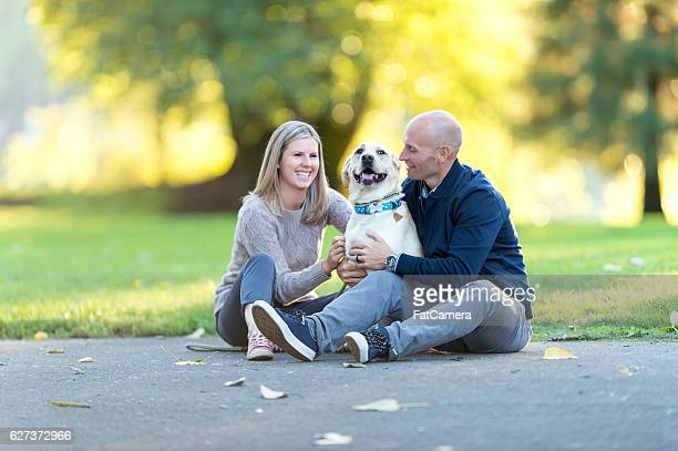 Young adult heterosexual couple hugging their white labrador dog