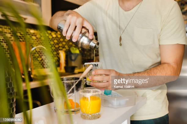giovani adulti che fanno cocktail e si divertono a casa - cocktail party foto e immagini stock