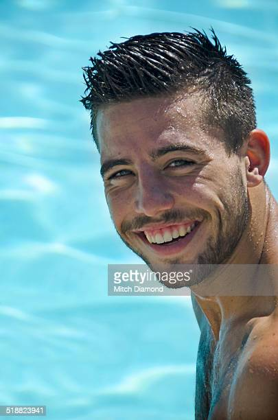 young adult man in swimming pool