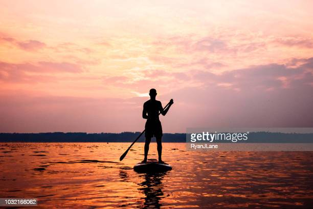 young adult man paddleboarding puget sound in summer - tacoma stock pictures, royalty-free photos & images