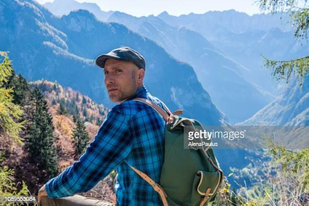 young adult man portrait, enjoy the amazing landscape - wonderlust stock pictures, royalty-free photos & images