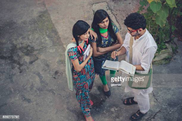 young adult students sharing knowledge. - salwar kameez stock pictures, royalty-free photos & images