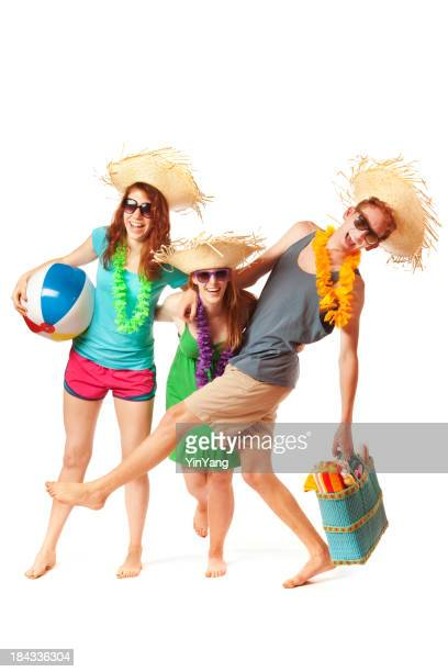 Jeune adulte plage tropicale Spring Breakers s'amusant sur blanc