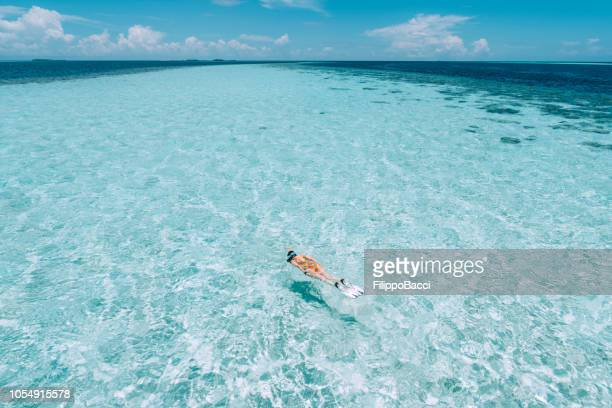 young adult woman snorkeling in a turquoise clear sea - atoll stock pictures, royalty-free photos & images