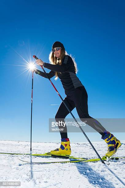 Young adult Women Cross Country Skiing