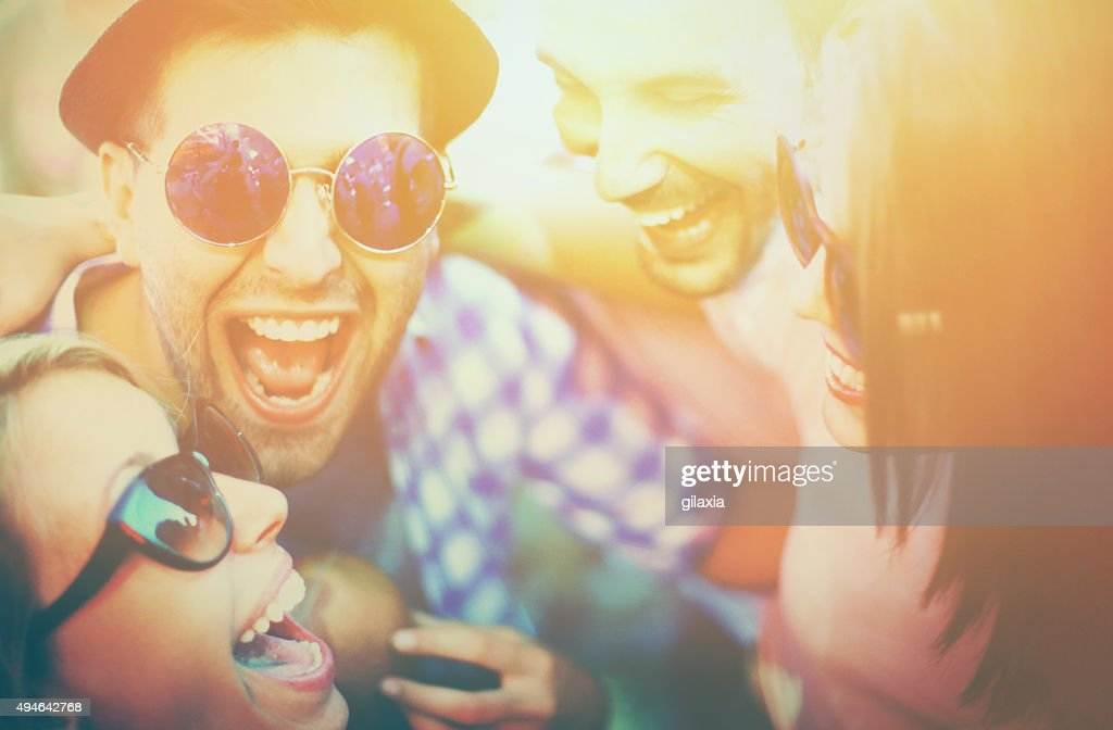 Young adults at concert. : Stock Photo
