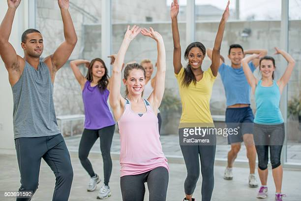 Young Adults Exercising Together