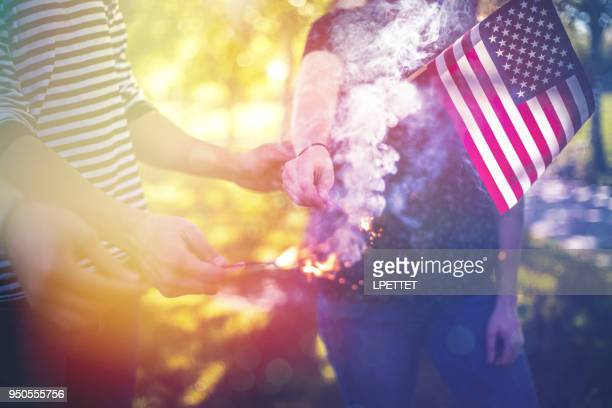 young adults hanging out - fourth of july stock photos and pictures