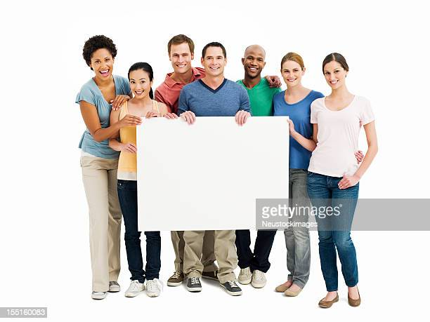 Young Adults Holding Up a Blank Sign - Isolated
