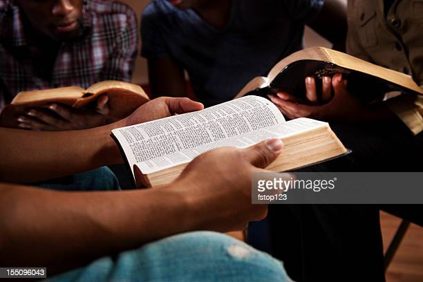 young adults in a bible study. - church stock pictures, royalty-free photos & images