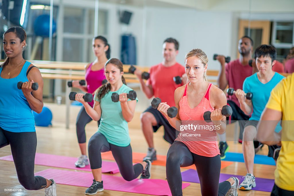 Young Adults in a Fitness Class : Stock Photo
