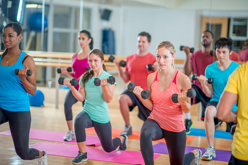 Young Adults in a Fitness Class 505640726