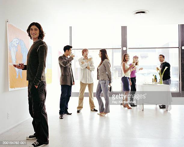 Young adults in art gallery